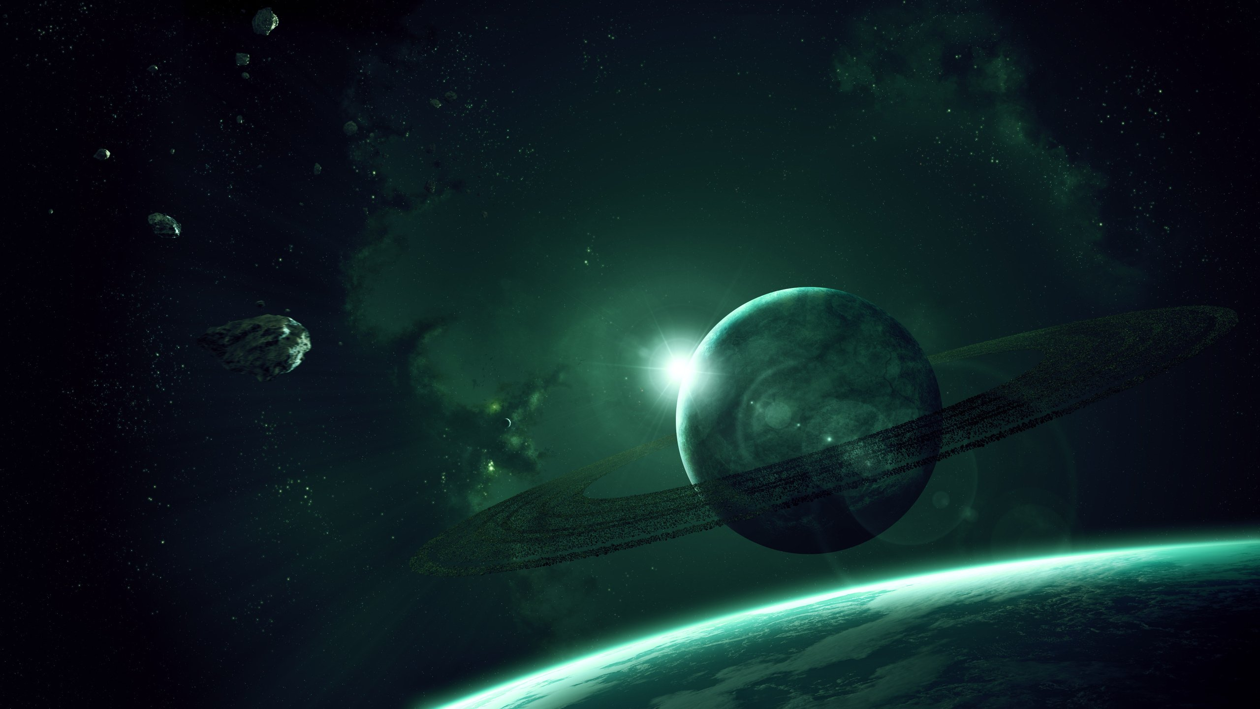 astronomy blue and green backgrounds - photo #45