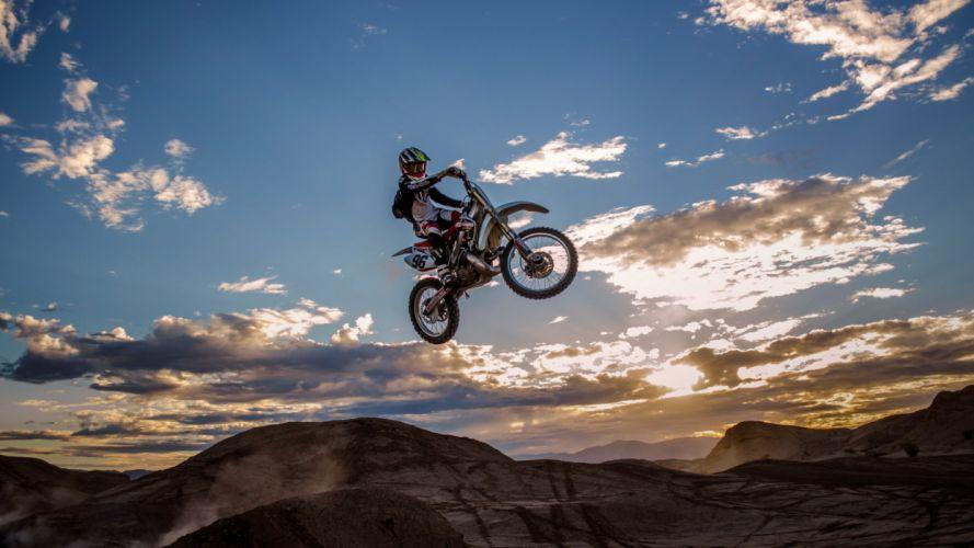 motorbike man jump extreme wallpaper