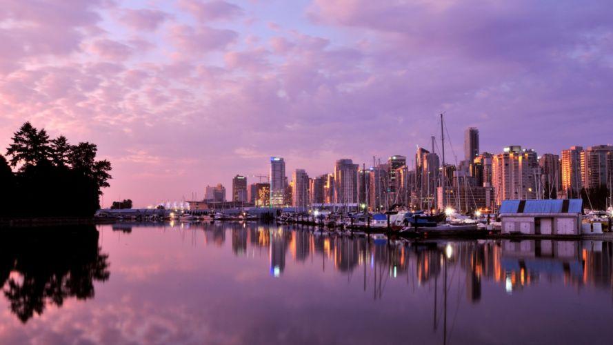 twn city river building light reflection wallpaper