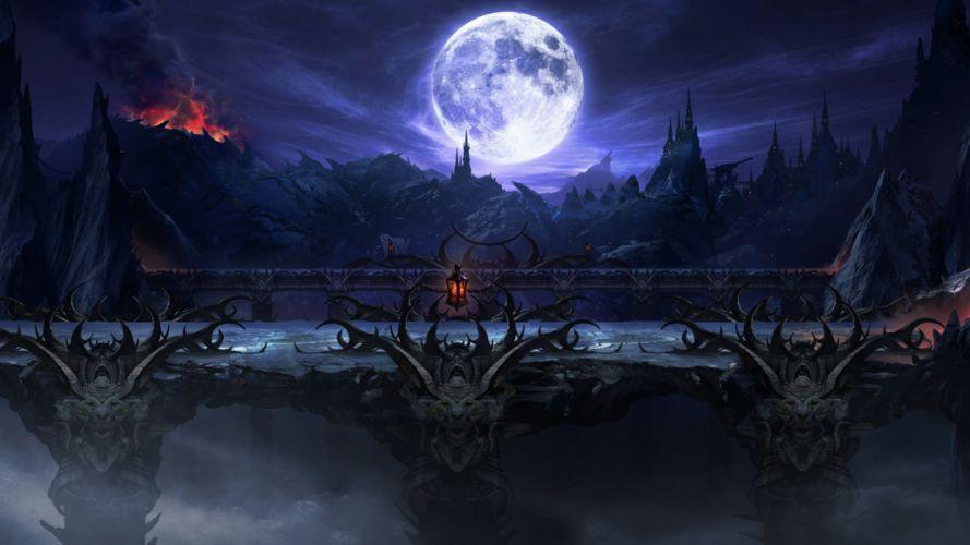 fantasy moon dark bridge wallpaper