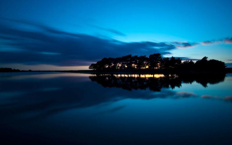 lake night blue sunset nature wallpaper