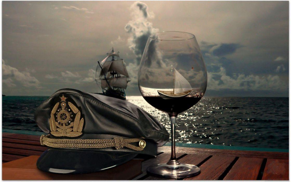 sailor hat boat vine sea wallpaper