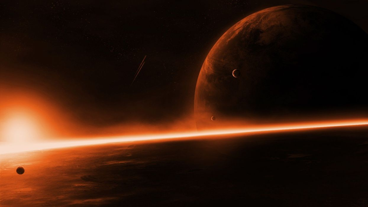 planet space red stars wallpaper