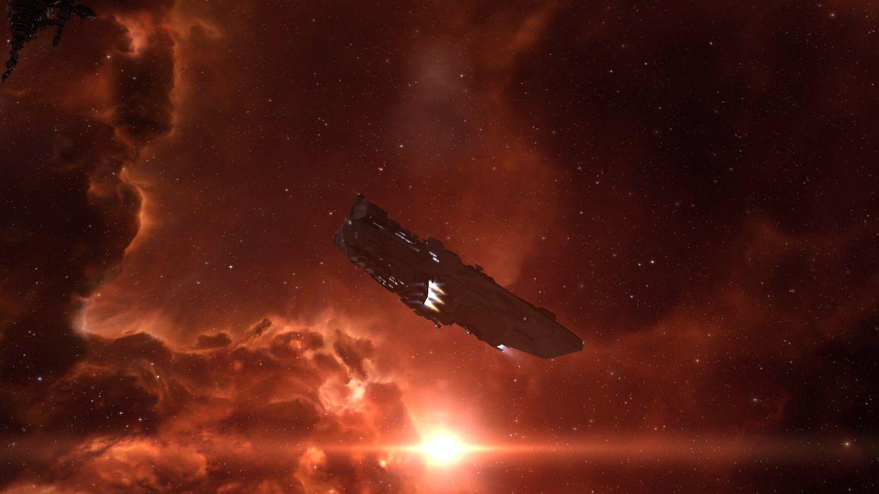 ship space stars orange wallpaper