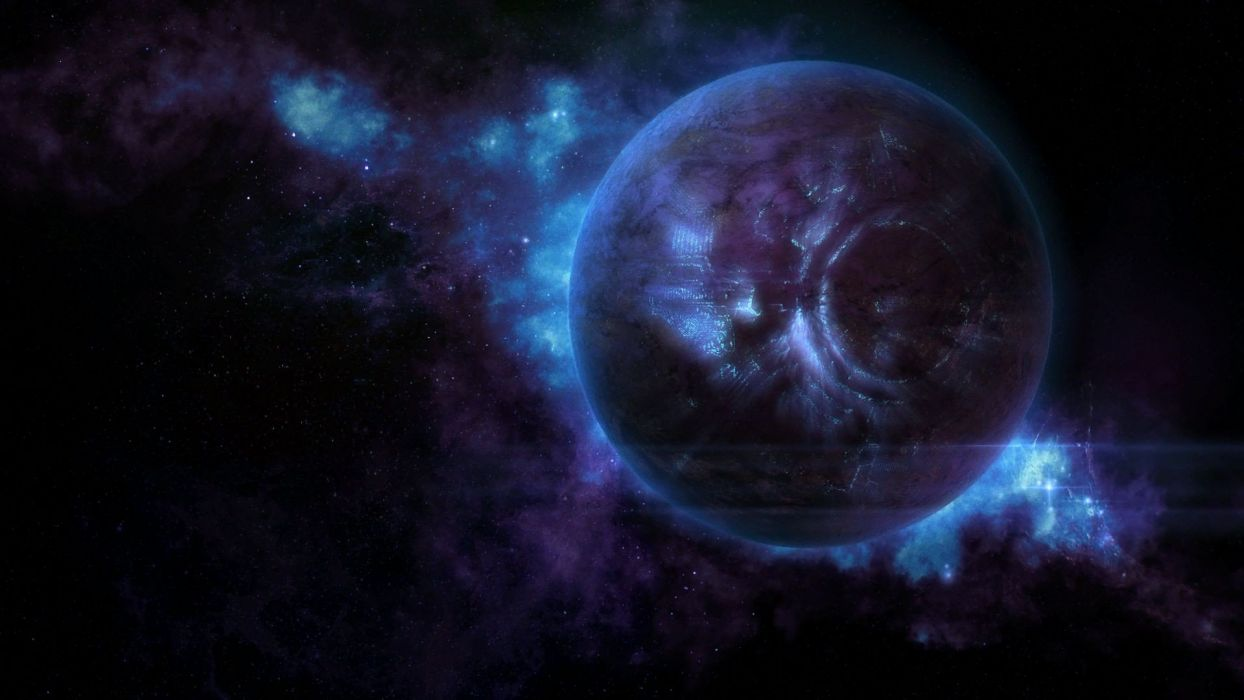 planet blue light civilisation fantasy wallpaper