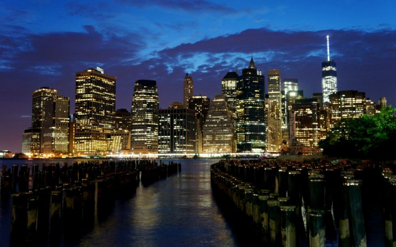 brooklyn cities City Intel rivers new York manhattan night light wallpaper