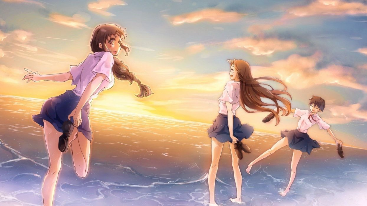 anime girls sea sunset run wallpaper