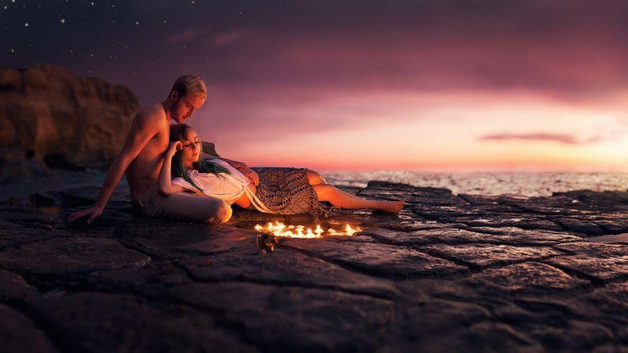 boy girl love fire sea alone couple lovers wallpaper