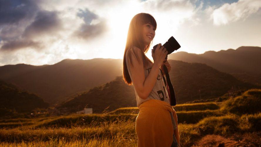 girl asian smile photo camera sunset wallpaper