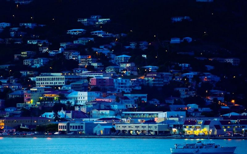 town light night sea blue wallpaper
