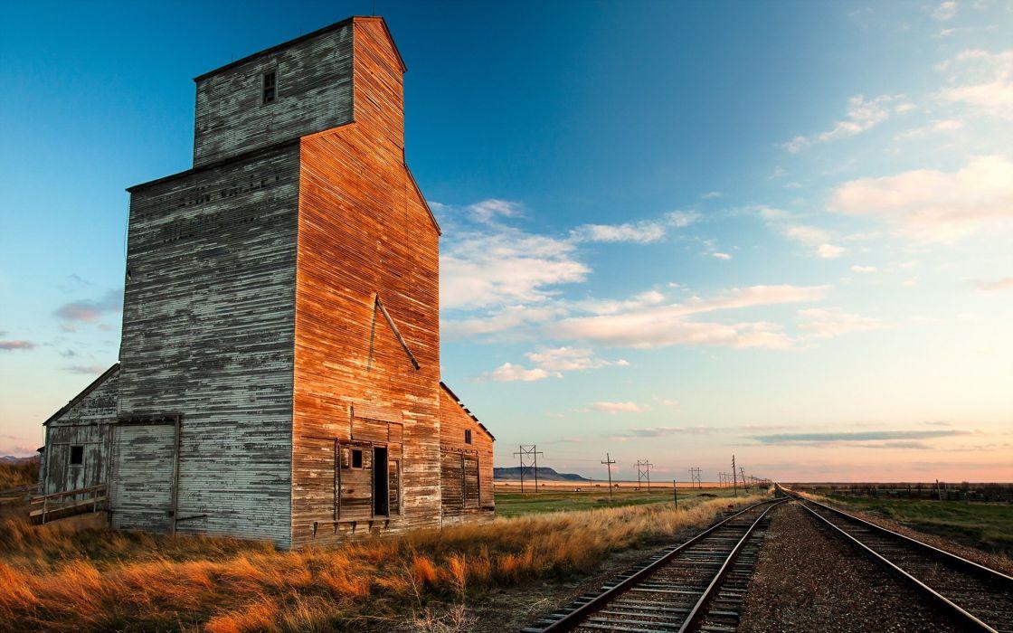 rails abandoned house building wallpaper