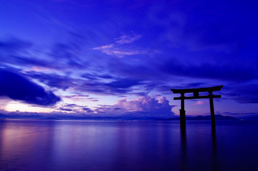 clouds gate ocean sky japan sea bokeh wallpaper