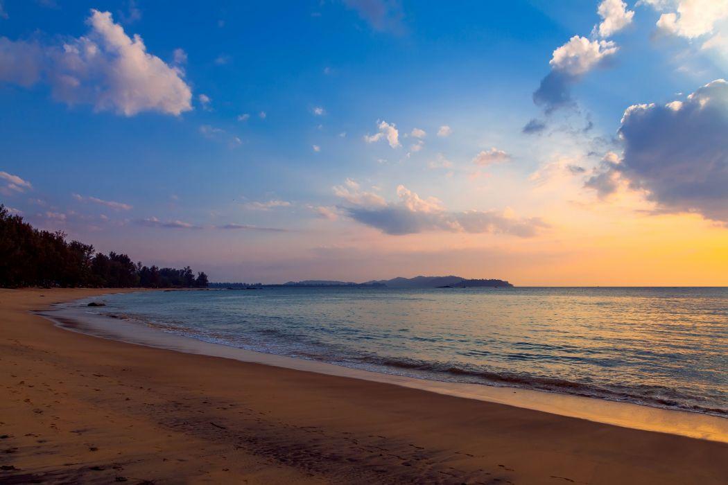 beach evening surf clouds sea ocean sunset wallpaper