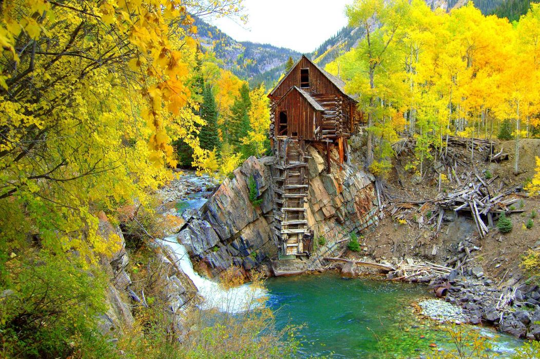 forest trees autumn river mill forest mountains wallpaper