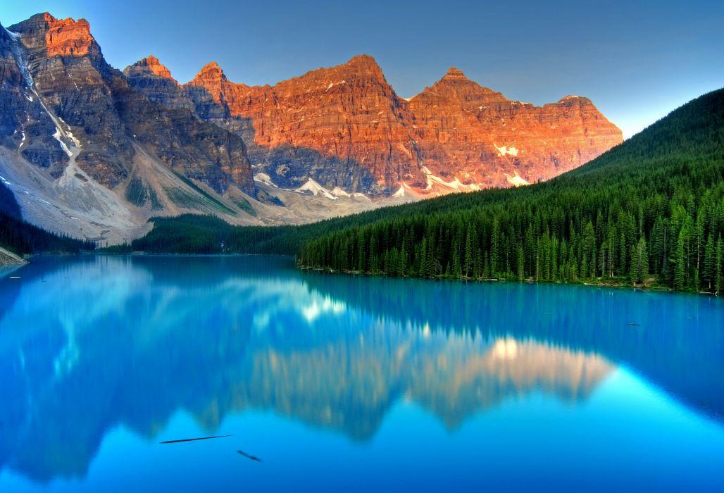 lake mountains landscape reflection wallpaper