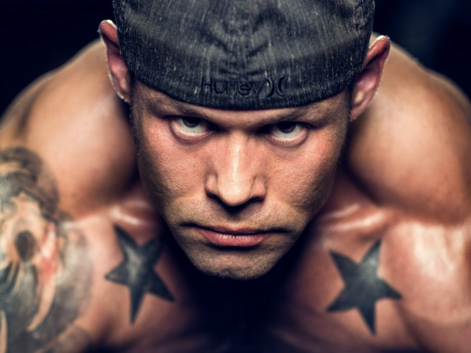 man face eyes tattoo fitness muscle muscles wallpaper