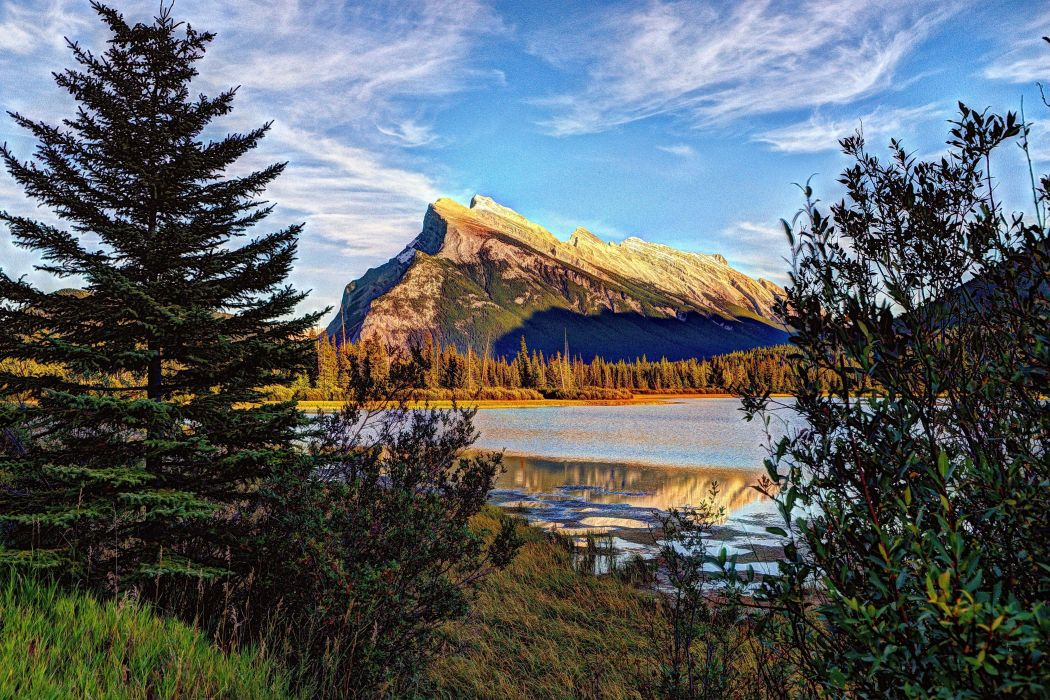 mountains lake trees sky landscape wallpaper
