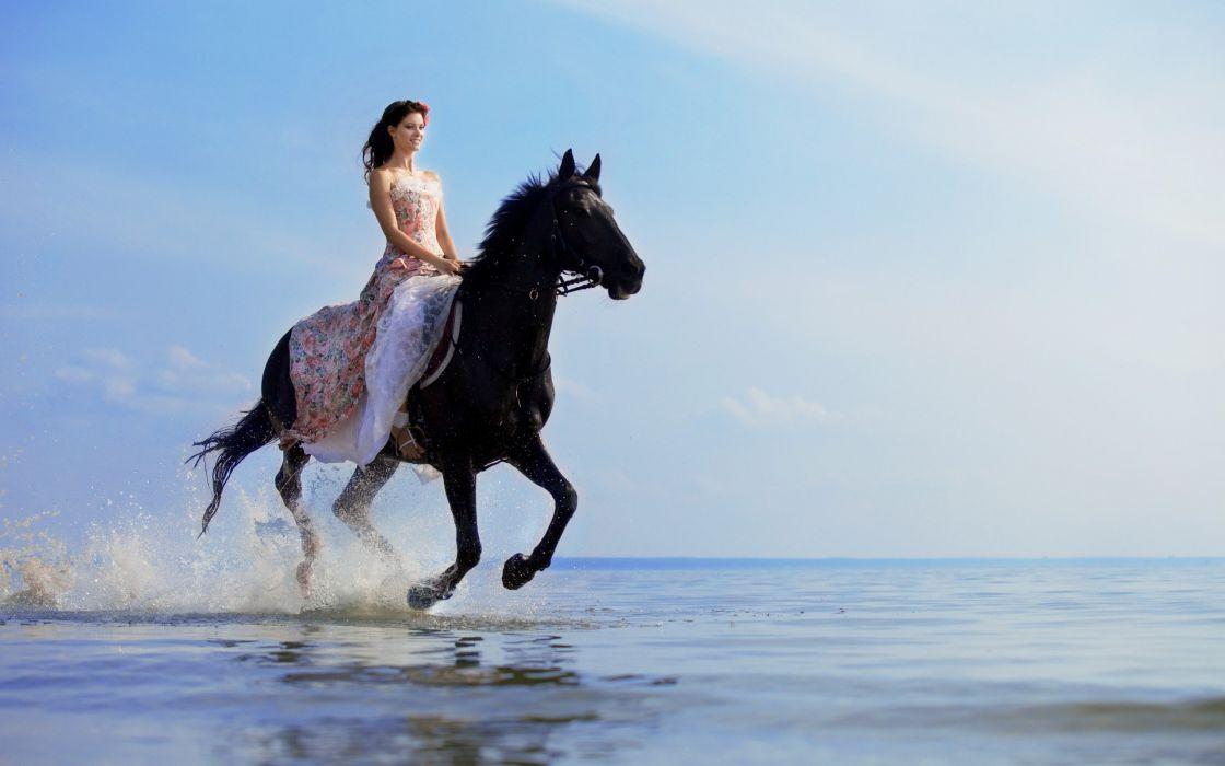 Girl horse sea black dress run wallpaper