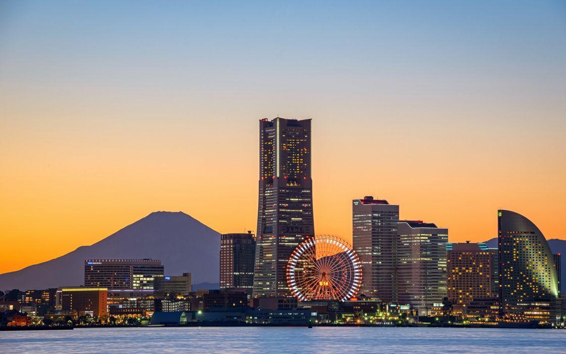 city town lights sea sunset wallpaper