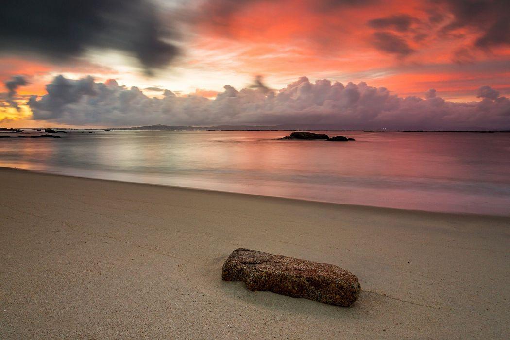 Stone cloud sunset ocean sea beach wallpaper
