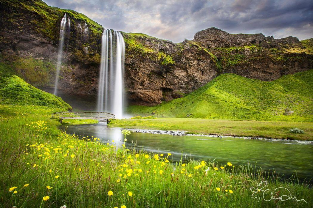 summer river nature waterfall landscape wallpaper