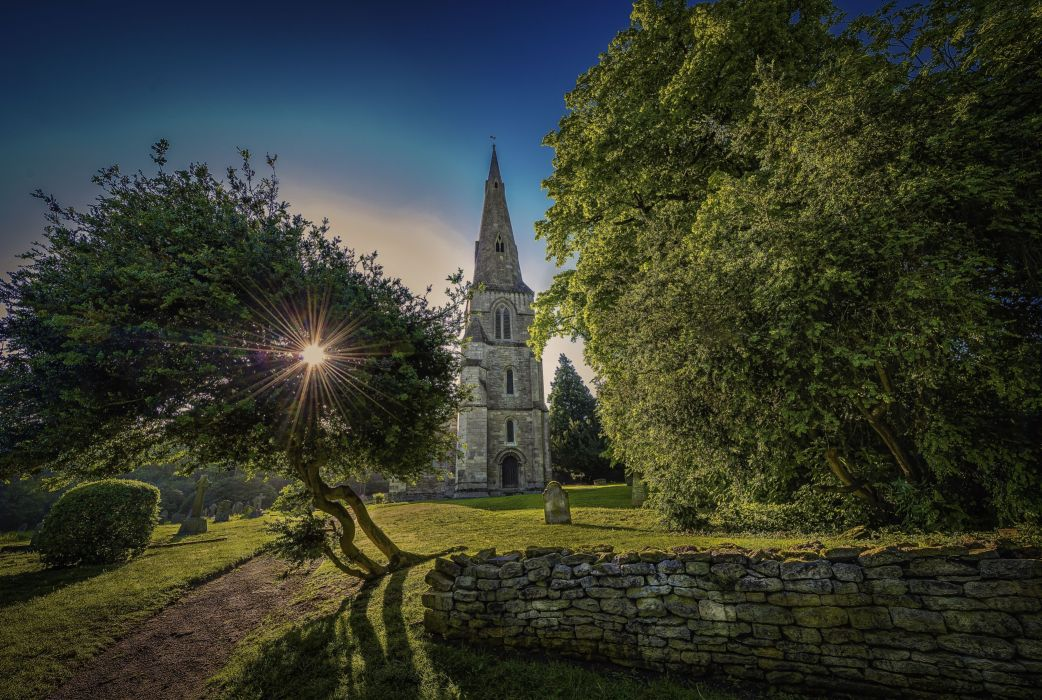 sunset field castle trees landscape church wallpaper