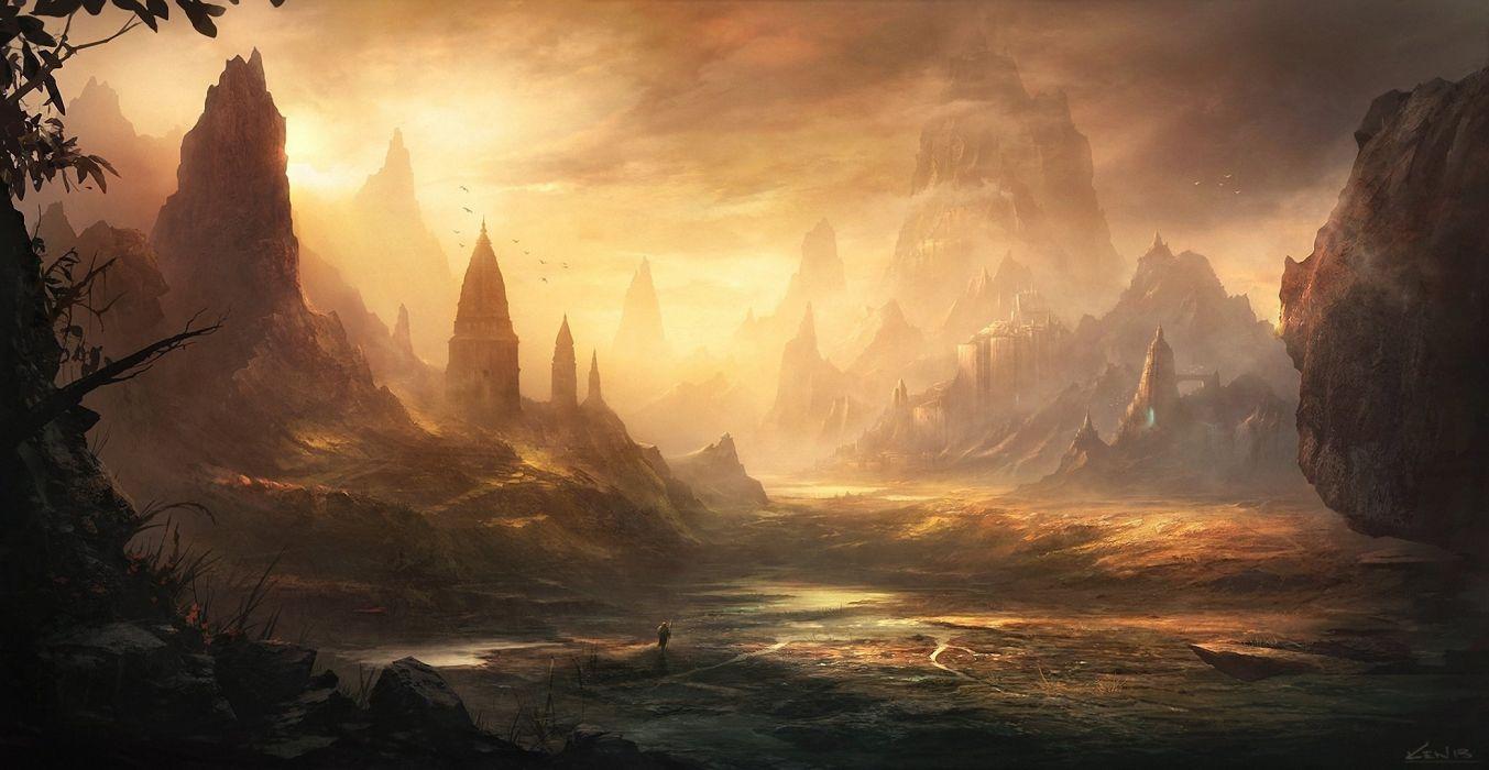 water zakat landscape castle adventure wallpaper