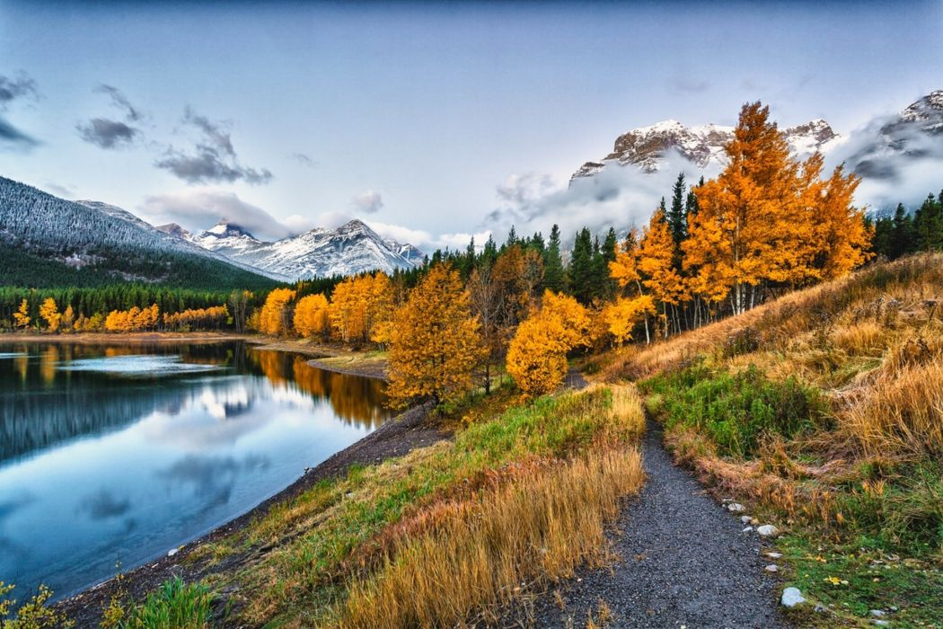 water park clouds sky snow river forest nature mountains autumn wallpaper