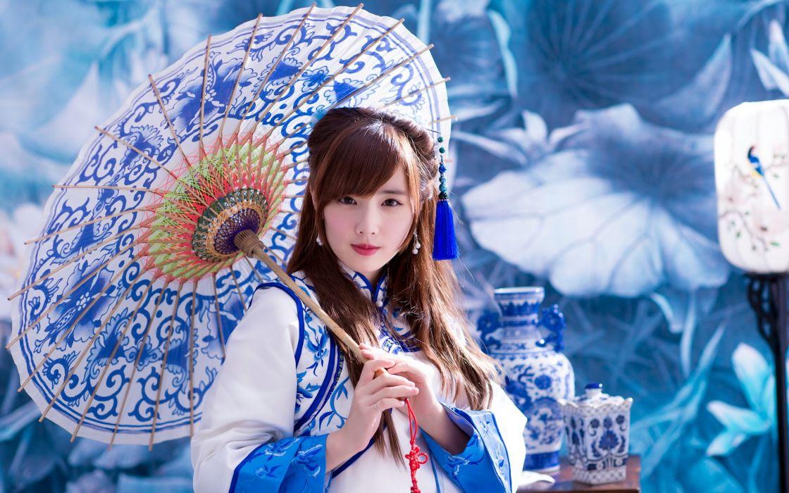 geisha blue girl asian oriental umbrella kimono wallpaper