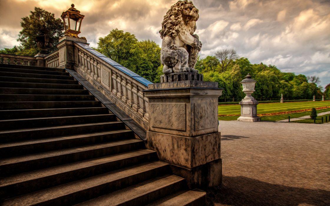 stairs lion sculpture garden castle wallpaper