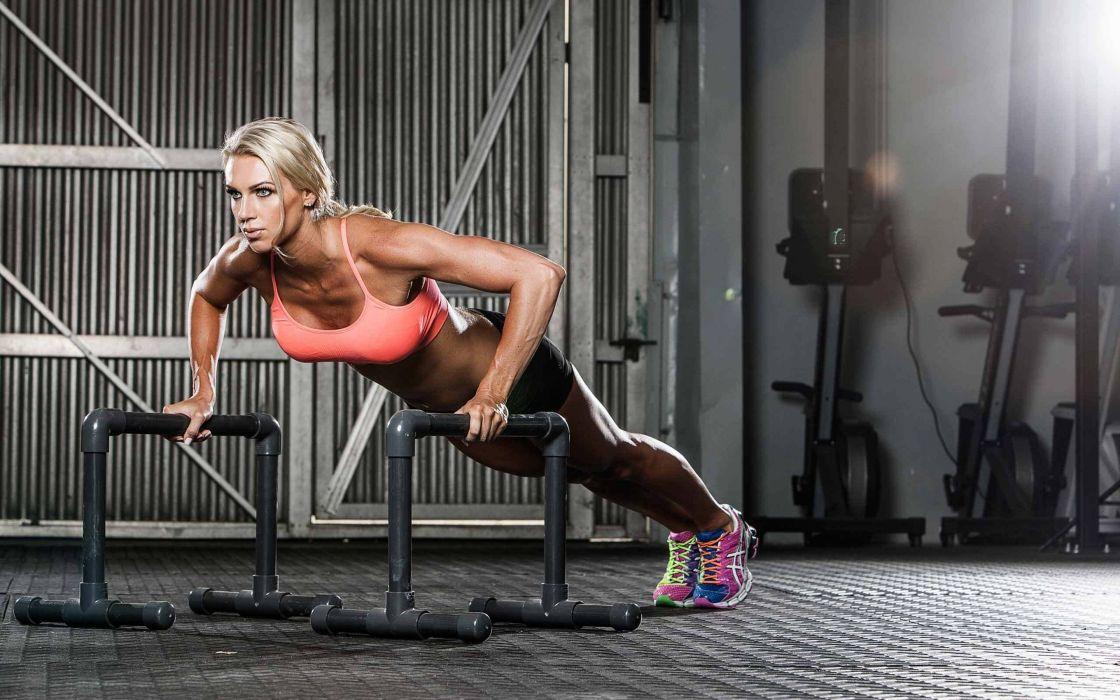 woman fitness muiscle blonde beauty wallpaper