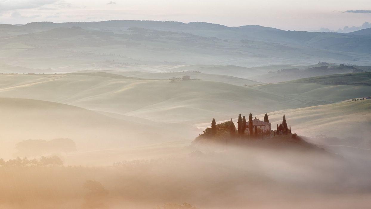 fog vs mist italy belvedere villa tuscany landscape house rustic farm wallpaper