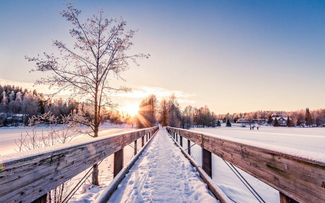 bridge winter landscape sunrise sunset dawn wallpaper