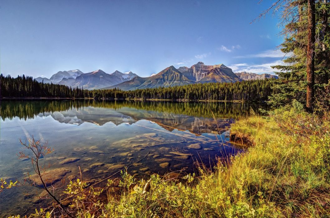 Herbert Lake Banff National Park Alberta Canada reflection mountains wallpaper