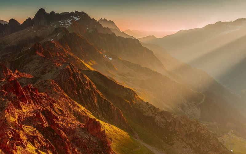 mountains landscape morning wallpaper