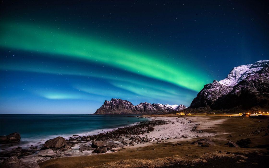 night lights sea beach ocean sky stars northern wallpaper