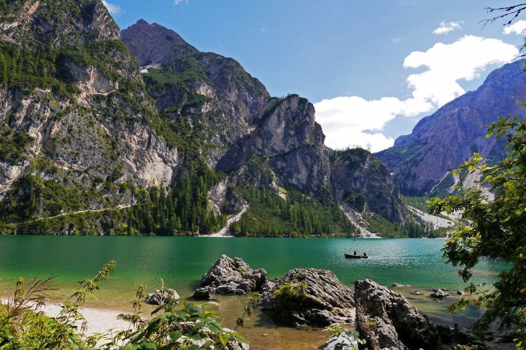 nature braies italy mountains lake boat fishing wallpaper