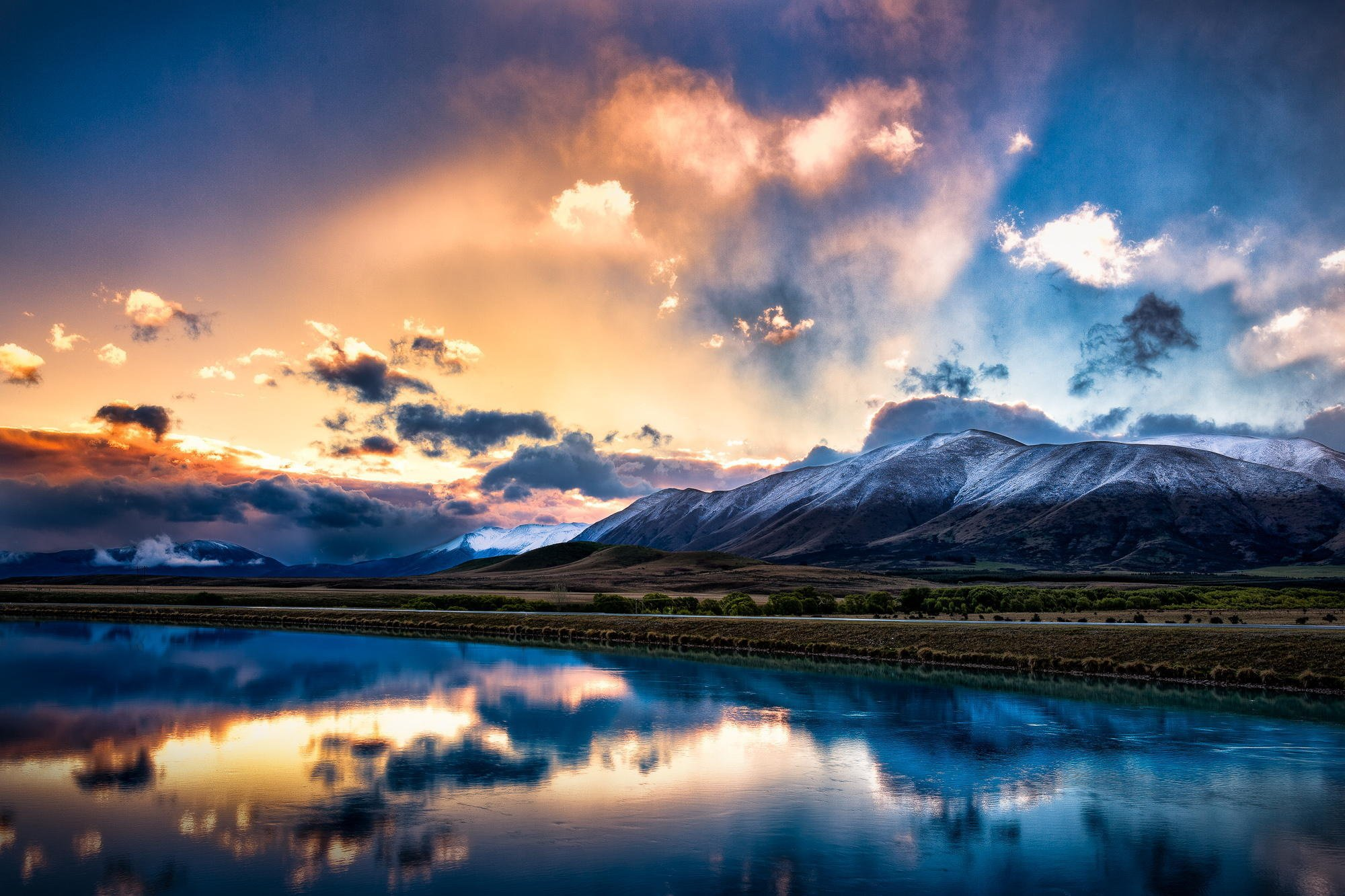 New Zealand South Island Mountains Snow Lake Reflection Sky Clouds Sunrise Sunset Wallpaper