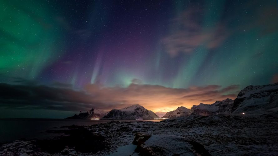 ocean mountains night northern lights beach sea stars sky wallpaper