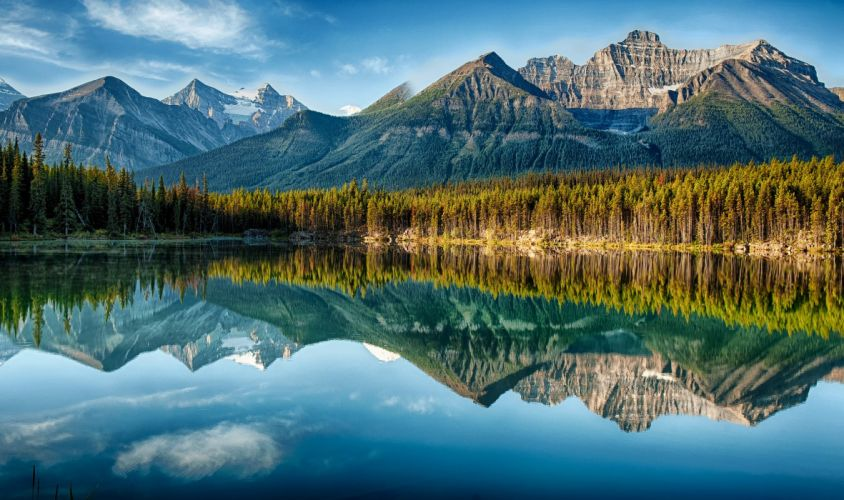 sky clouds mountain forest lake reflection trees wallpaper