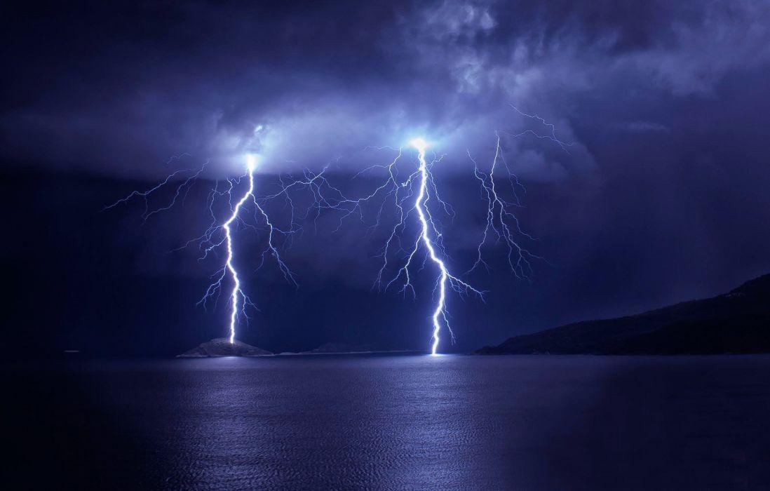 storm mountain lake lightning clouds sky wallpaper