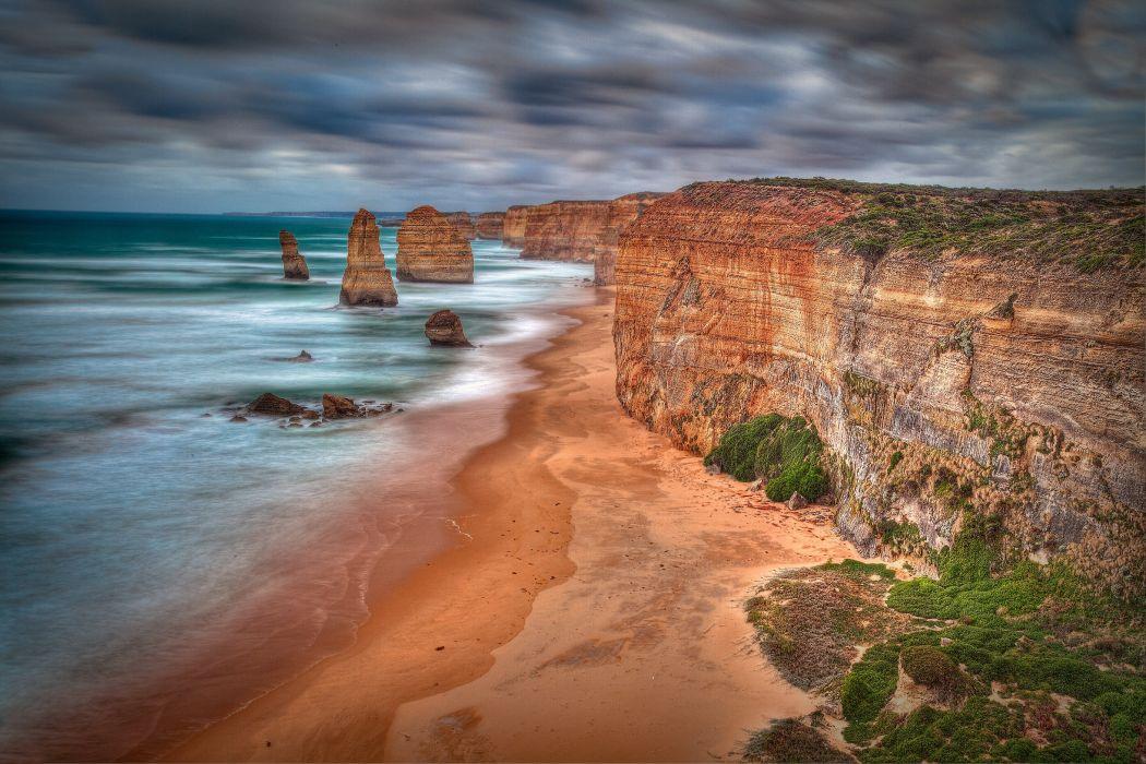 Twelve Apostles Coastline Australia hdr ocean sea cliff beach wallpaper