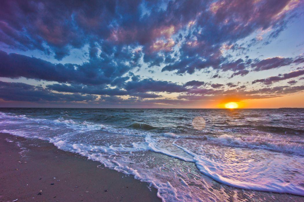 sunset sea waves coast landscape wallpaper