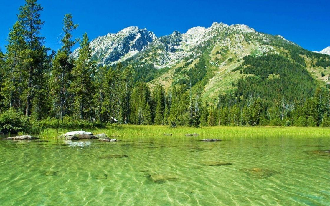lake green mountains nature wallpaper