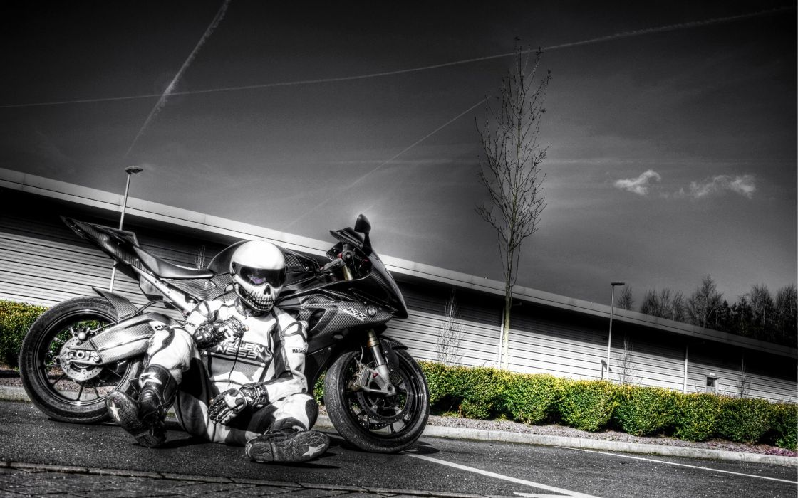 motorcycle man driver rest sky bw wallpaper