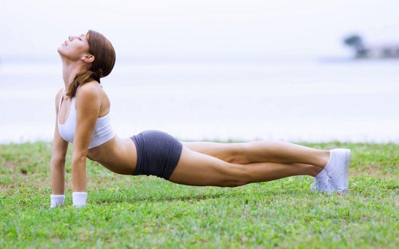 fitness woman slim body beauty legs attractive elastic wallpaper