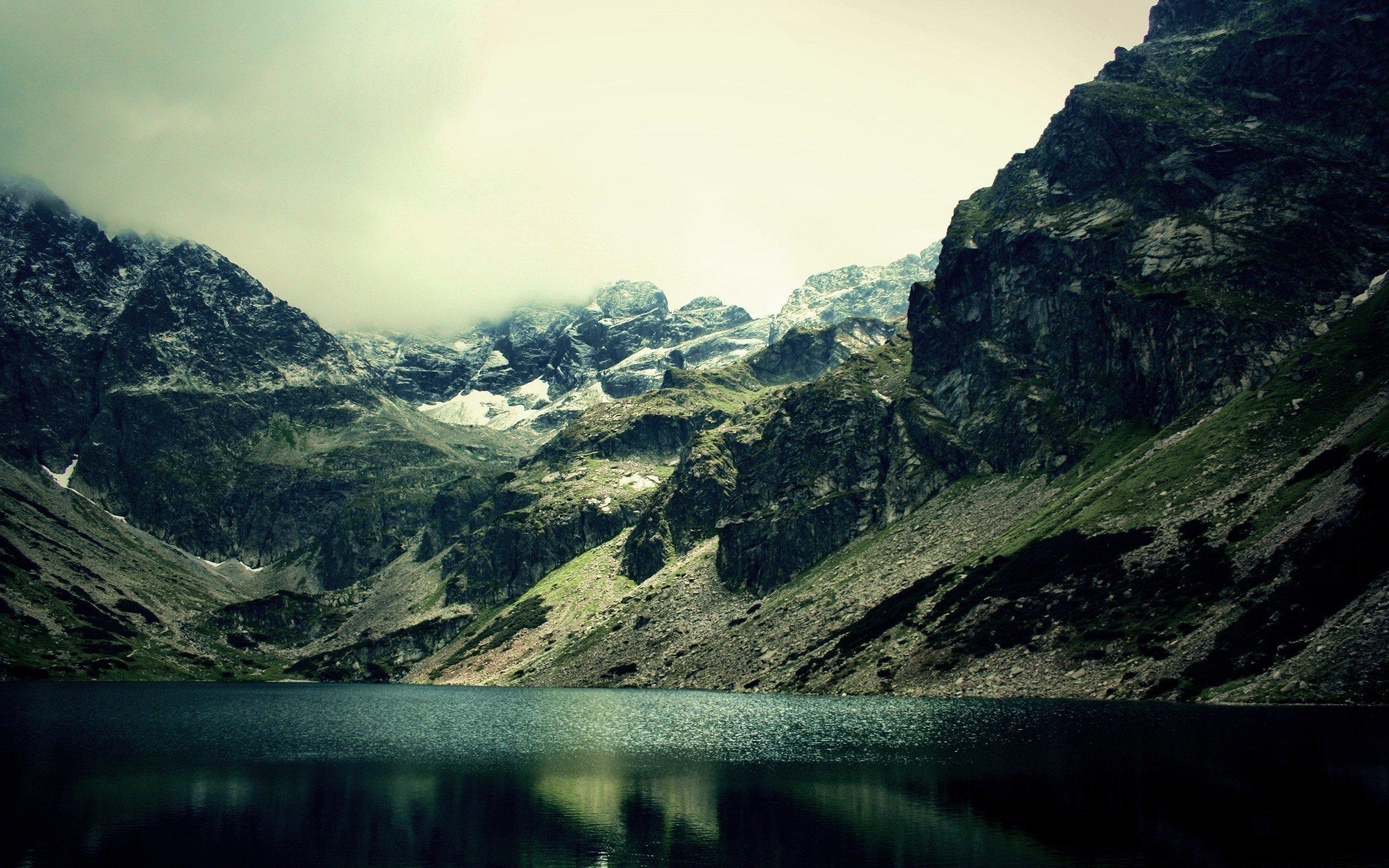 Mountain Snow Fog Winter Lake Nature Wild Wallpaper