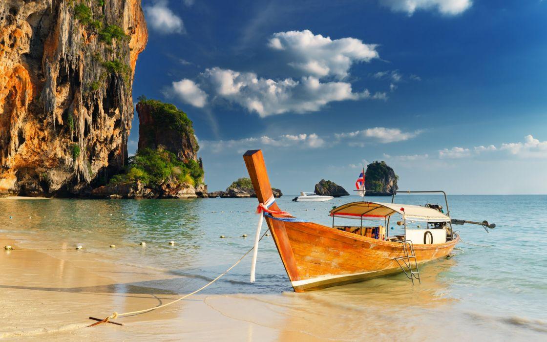 Boat Beach Sun Sky Nature Sea Wallpaper 2560x1600 441847