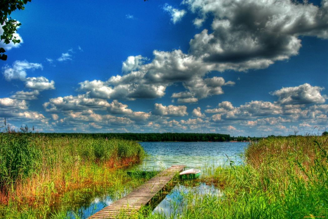 lake pier sky blue clouds nature wallpaper