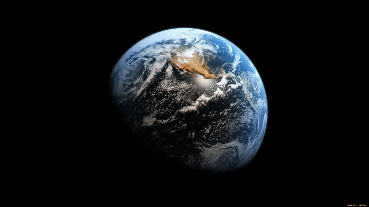 Planet Earth From Space Wallpaper: Planet Earth Day Night Space Wallpaper